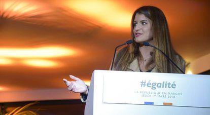 Marlene Schiappa, secretaria de Estado para la Igualdad en Francia, en una conferencia en París.