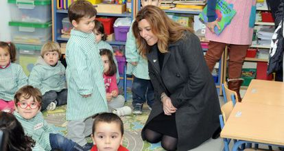 Susana Díaz, en el colegio que ha inaugurado en Jerez.
