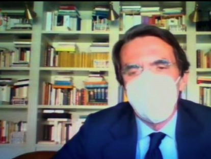 Captura de vídeo de la declaración del expresidente del Gobierno José María Aznar en el juicio por la caja b del PP.