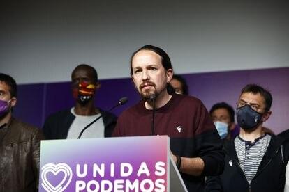 El exvicepresidente segundo, Pablo Iglesias, durante la noche electoral tras las elecciones madrileñas, el pasado 4 de mayo.