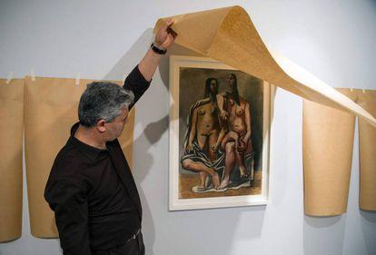 Preparativos de la muestra de Picasso en Rabat, el pasado 12 de abril.