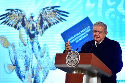 El presidente Andrés Manuel López Obrador, en el Palacio Nacional, este jueves.