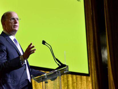 Larry Fink, presidente de BlackRock, durante una intervención en Nueva York en noviembre de 2018