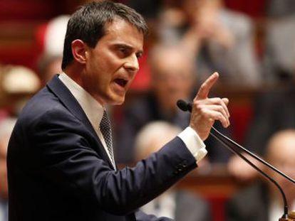 El primer ministro francés, Manuel Valls, este martes ante la Asamblea Nacional.