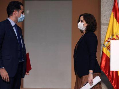 Aguado y Díaz Ayuso, el día 18 de septiembre en una comparecencia ante los medios en Madrid.