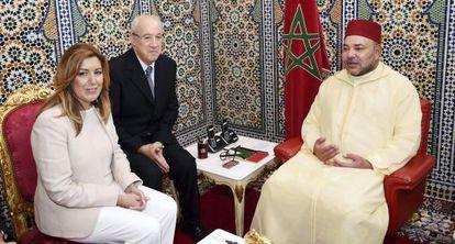 Susana Díaz durante su reunión con el rey de Marruecos, Mohamed VI.