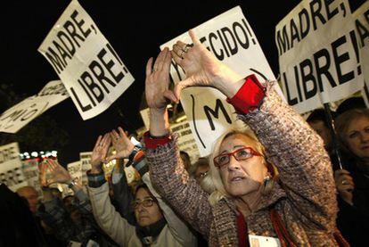 Concentración en favor del aborto en Madrid.