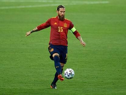 Sergio Ramos, en el partido de España contra Kosovo el 31 de marzo.