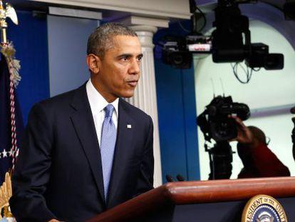 El presidente de EE UU, Barack Obama, en el momento de anunciar la imposición de sanciones a Rusia.