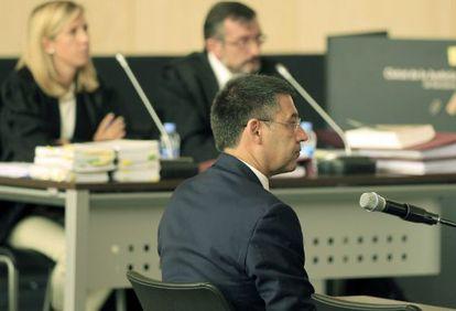 josep Maria Bartomeu, presidente del Barcelona, en su comparecencia en el juzgado.