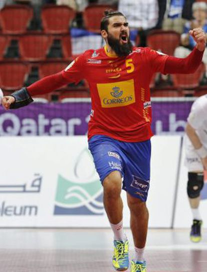 Maqueda celebra un gol a Bielorrusia.