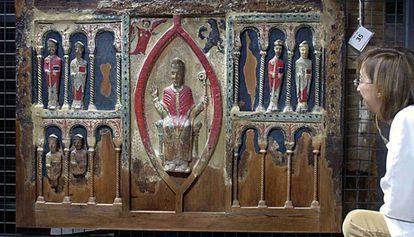 El frontal de Sant Hilari de Buira, una de las obras reclamadas por el obispado de Barbastro, en una imagen de 2005.