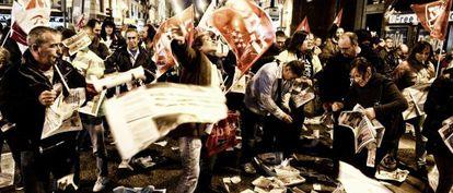 Manifestación en la Puerta del Sol previa al inicio de la huelga.