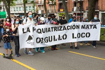 """La manifestación por el """"Orgullo Loco"""" tuvo lugar el pasado mayo en diferentes ciudades de España. En la imagen, una de las pancartas vistas en Madrid."""