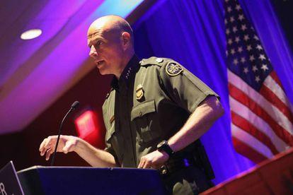 Ronald Vitiello, jefe de la Policía de Fronteras de EE UU, en la Border Security Expo de San Antonio, este miércoles.