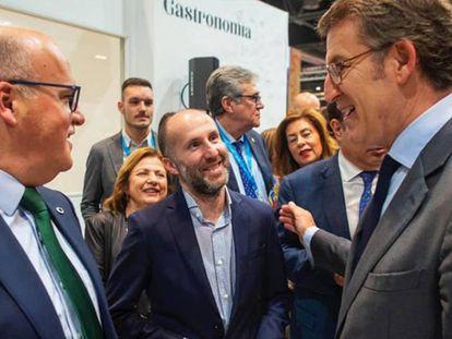 El alcalde de Ourense, Gonzalo Pérez Jácome (centro de la imagen), junto al presidente de la Xunta, Alberto Núñez Feijóo, y el presidente de la Diputación de Ourense, José Manuel Baltar.