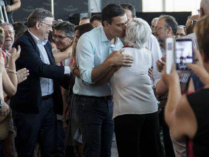 El presidente de la Generalitat, Ximo Puig, y el secretario general del PSOE, Pedro Sánchez.