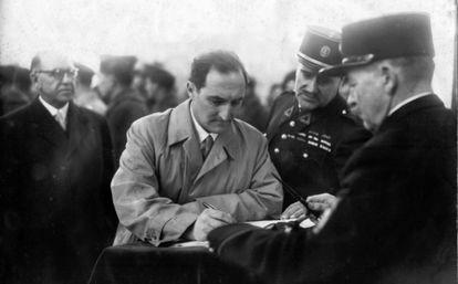 El lehendakari José Antonio Aguirre, tras la liberación de París en 1944.