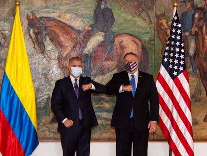 Iván Duque y Mike Pompeo en la Casa de Nariño, en Bogotá.