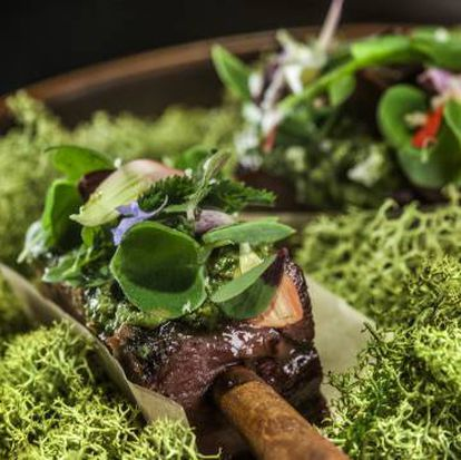 Dum Plin Marco Polo en caldo Joselito y lengua asada y salsa verde engarzada en un palito de canela.