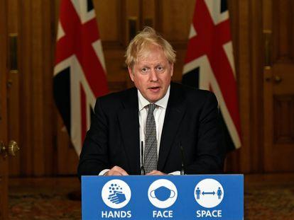 Boris Johnson, este sábado durante el anuncio de las nuevas restricciones.