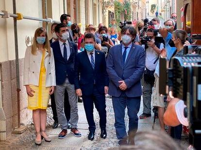 El presidente de la Generalitat, Pere Aragonés y el expresidente Carles Puigdemont, este sábado en el Alguero.