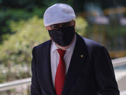 El comisario jubilado José Manuel Villarejo abandona la Audiencia Nacional el pasado 2 de julio tras declarar.