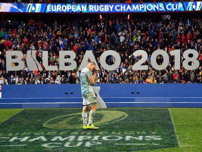 Wenceslas Lauret, del Racing 92, después de perder la final de la Champions de rugby en Bilbao.
