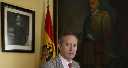 Jaime Alonso, vicepresidente ejecutivo de la Fundación Nacional Francisco Franco, posa en la sede madrileña.