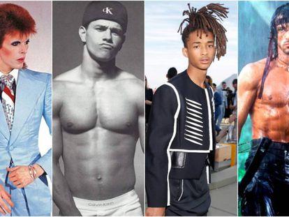 David Bowie, Mark Wahlberg, Jaden Smith y Sylvester Stallone: cuatro décadas diferentes y cuatro formas de entender la masculinidad que gracias a ellos se hicieron masivas.