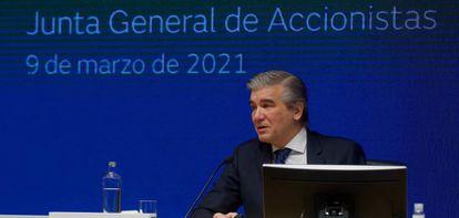 Francisco Reynés, presidente de Naturgy, en la última junta de accionistas de la compañía..