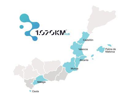 Mapa de los integrantes de 1070 Km Hub.