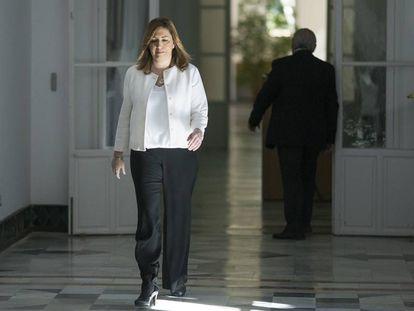La Presidenta de la Junta de Andalucía, Susana Díaz, en el Palacio de San Telmo.
