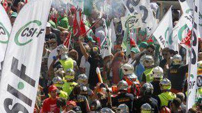 Protestas de sindicatos por los recortes del Gobierno en 2012.