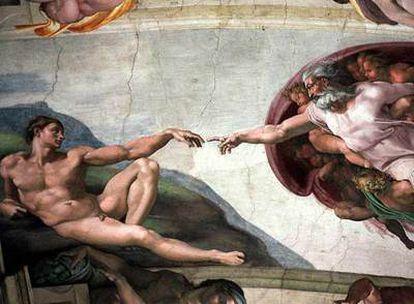 Representación clásica de Dios como un anciano con barba, según la pintura de Miguel Ángel en el techo de la Capilla Sixtina, en la que aparece en el momento de la creación del hombre.