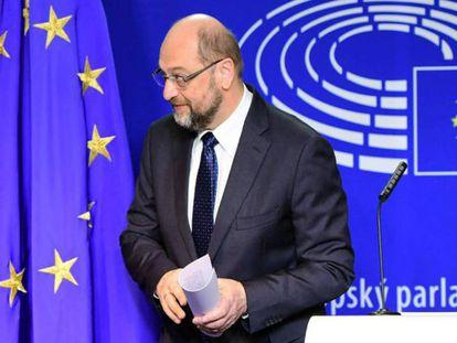 Martin Schulz este jueves en rueda de prensa en el Parlamento europeo.