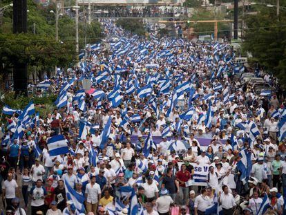 Marcha este miércoles en Managua.