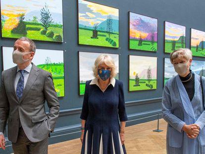 Camilla Parker Bowles, este miércoles en la inauguración de la exposición de David Hockney en la Royal Academy of Arts, en Londres.