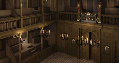 Recreación en 3D del teatro Sam Wanamaker Playhouse.