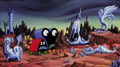 El universo de Jim Woodring se mueve entre los dibujos animados y las formas barrocas. En la imagen, una viñeta de <i>Frank. </i>