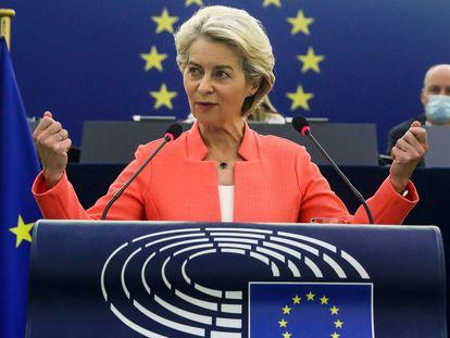 Von der Leyen, en un momento de su intervención durante el debate sobre el Estado de la Unión, este miércoles en Estrasburgo.