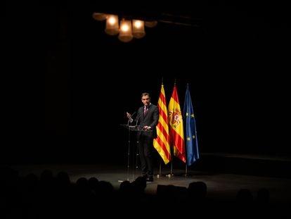El presidente del Gobierno, Pedro Sánchez, pronuncia la conferencia 'Reencuentro: un proyecto de futuro para toda España', en el Teatre del Liceu de Barcelona el lunes.