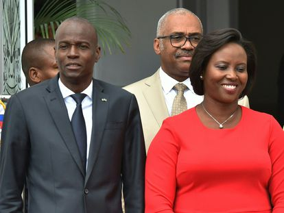 El presidente de Haití. Jovenel Moïse, y la primera dama, Martine Moïse, en el Palacio Nacional en Puerto Príncipe,  el 23 de mayo de 2018.