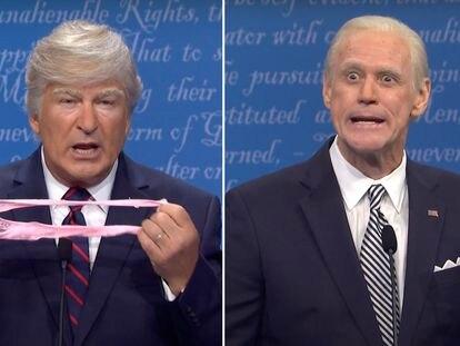 Alec Baldwin y Jim Carrey, caracterizados como Donald Trump y Joe Biden en 'Saturday Nigh Live'.