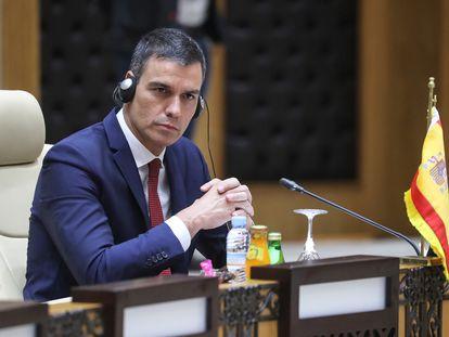 Pedro Sánchez, durante su participación en la cumbre de Mauritania.