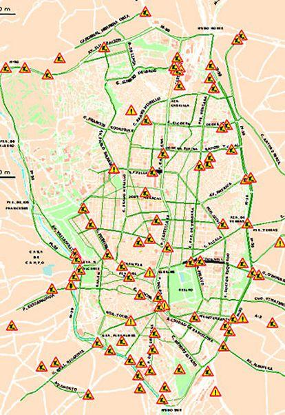 Mapa de incidencias ofrecido por el Ayuntamiento de Madrid en su página web.