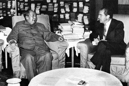 Mao Zedong y Richard Nixon, en casa del líder chino en 1972.