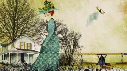 Katherine Wright, hermana de Orville y Wilbur y considerada una de las pioneras olvidadas de la aviación, ilustrada en 'Historias de hermanos', de Fría Aguilar.