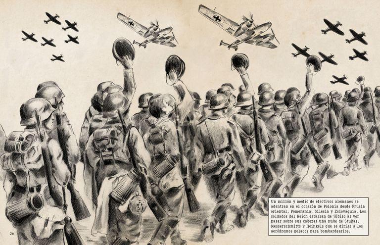 Columna de soldados alemanes marchando en un dibujo de 'La Segunda Guerra Mundial, una historia gráfica'. Ilustración de Eugènia Anglès.