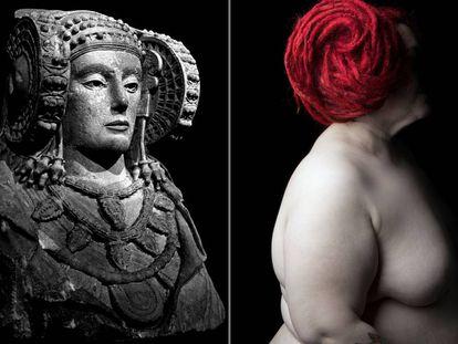 La 'Dama de Elche' junto a la reinterpretación que Díaz hace de la misteriosa escultura como